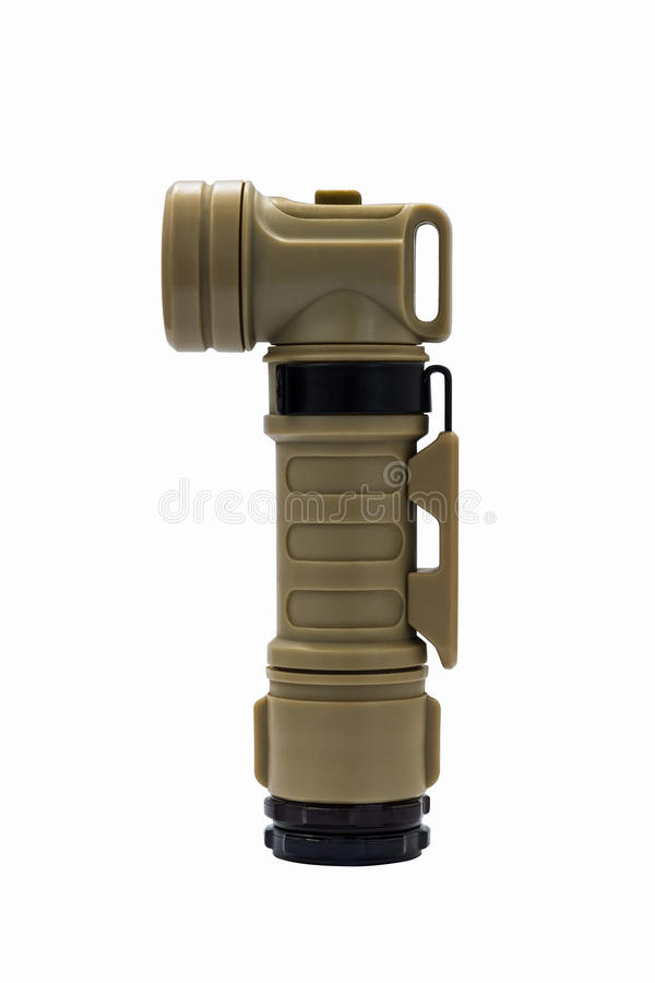 Modern molle light angle-head tactical flashlight isolated with stock image