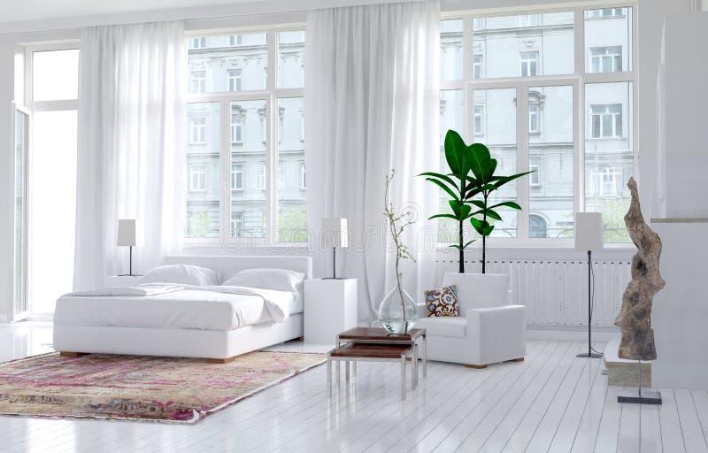 Modern monochromatic bedroom interior vector illustration