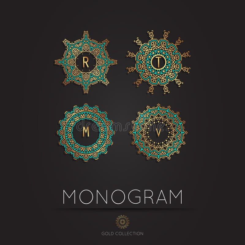 Modern monogram, embleem vectormalplaatje royalty-vrije stock foto's
