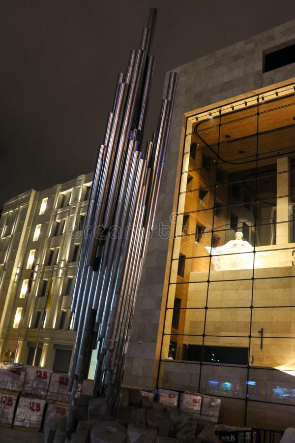 Modern Monument Galatasaray Beyoglu Istanbul. Modern Monument Galatasaray Istiklal Beyoglu Istanbul, Turkey stock photography