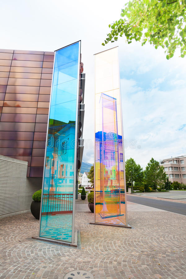 Modern monuments in Liechtenstein. Kingdom, tiny country in Europe stock photography