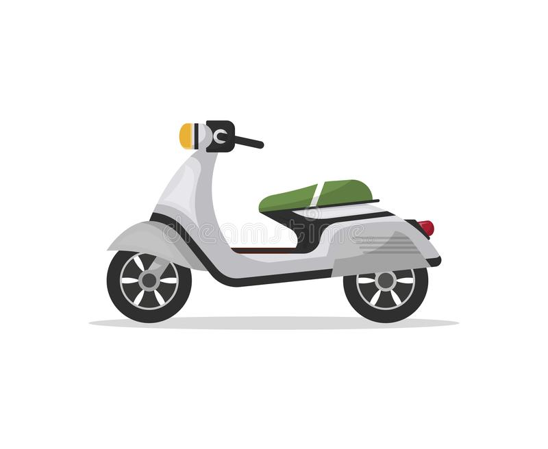 Modern moped isolated icon. Modern moped icon in flat style. Personal transport, city vehicle isolated on white background illustration stock illustration