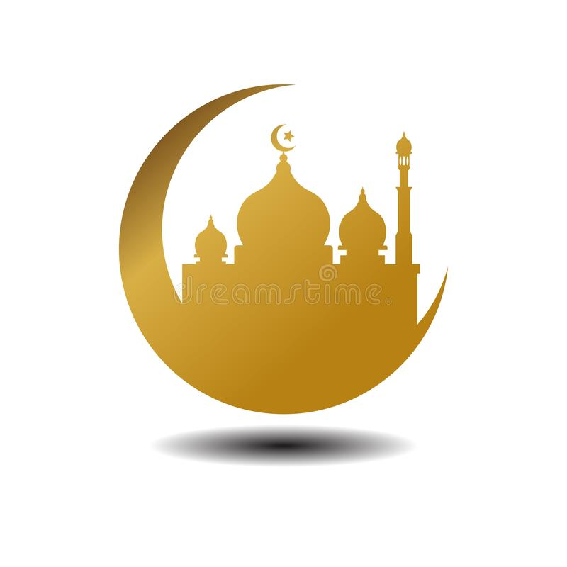 Modern Mosque Moslem Icon Vector Gold white Background with shadow For All business. Illustration Islamic vector illustration
