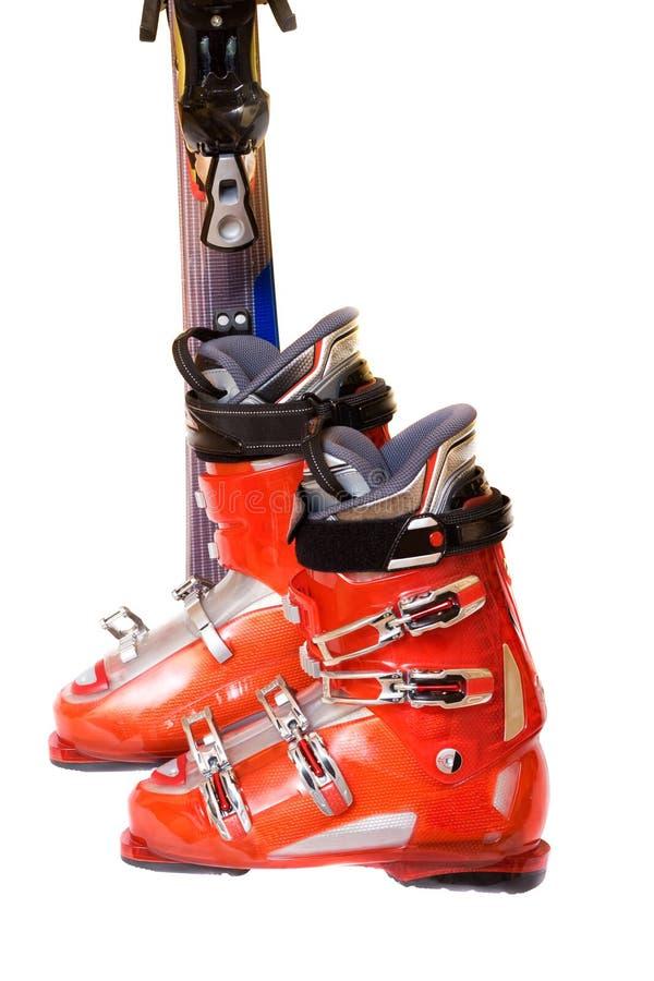 Modern mountain ski boots royalty free stock photos