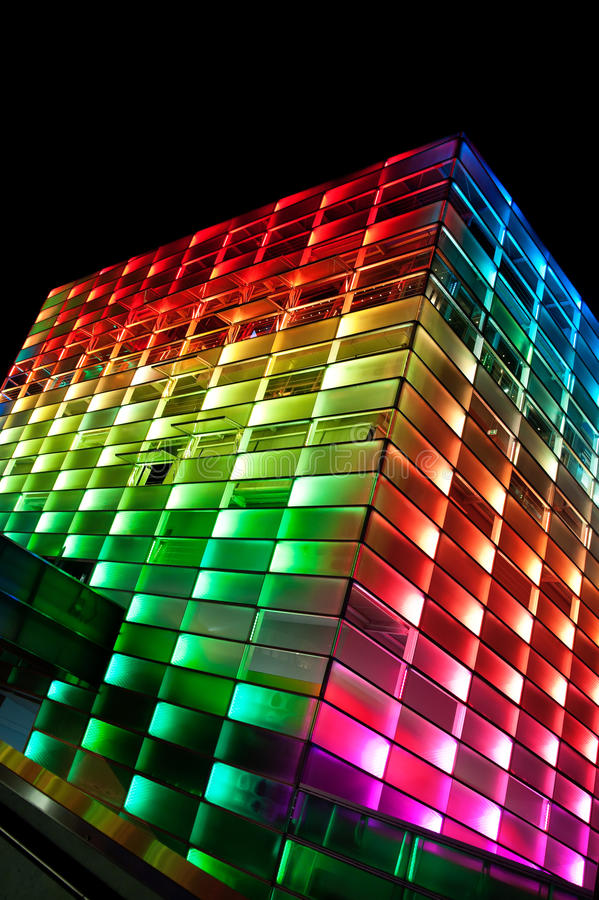 Modern multi colored Building. In Linz, Austria stock images