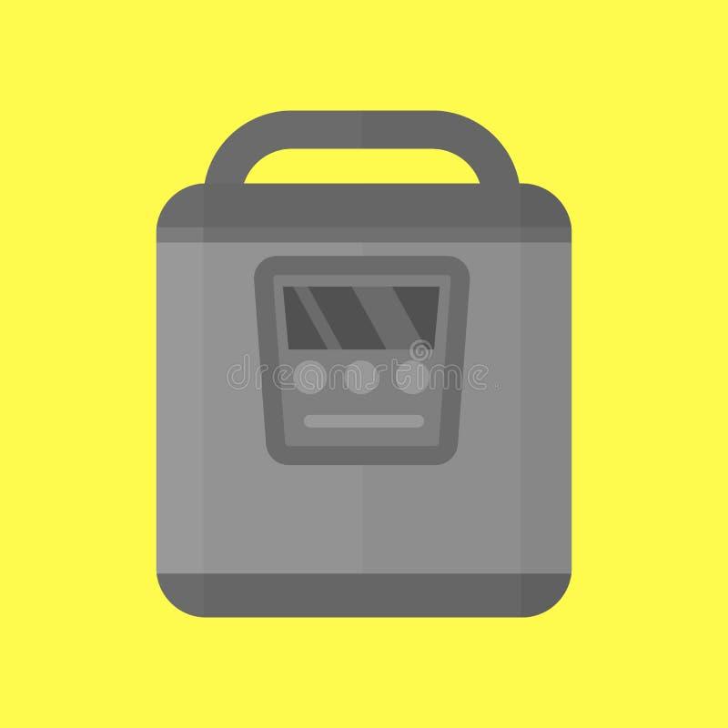 Modern multi cooker household utensil metallic pan food preparation pressure and kitchen appliance electric making stove royalty free illustration