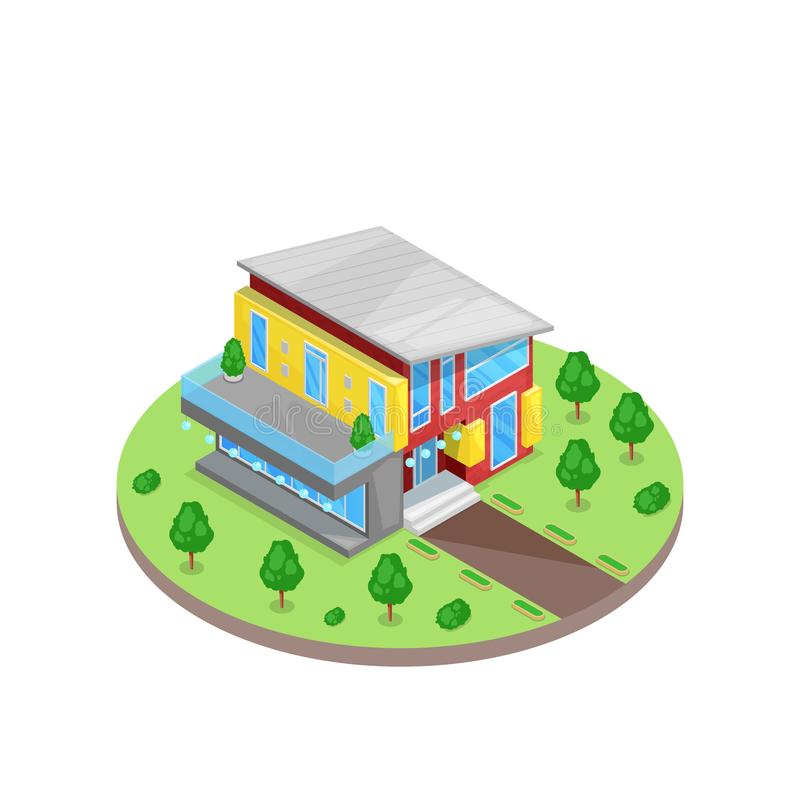 Modern multicolor two stories 3d isometric style residential house in green yard. Vector illustration. Real estate icon. stock illustration