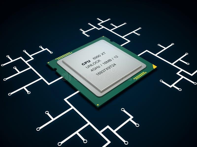 Modern multicore CPU royalty free illustration