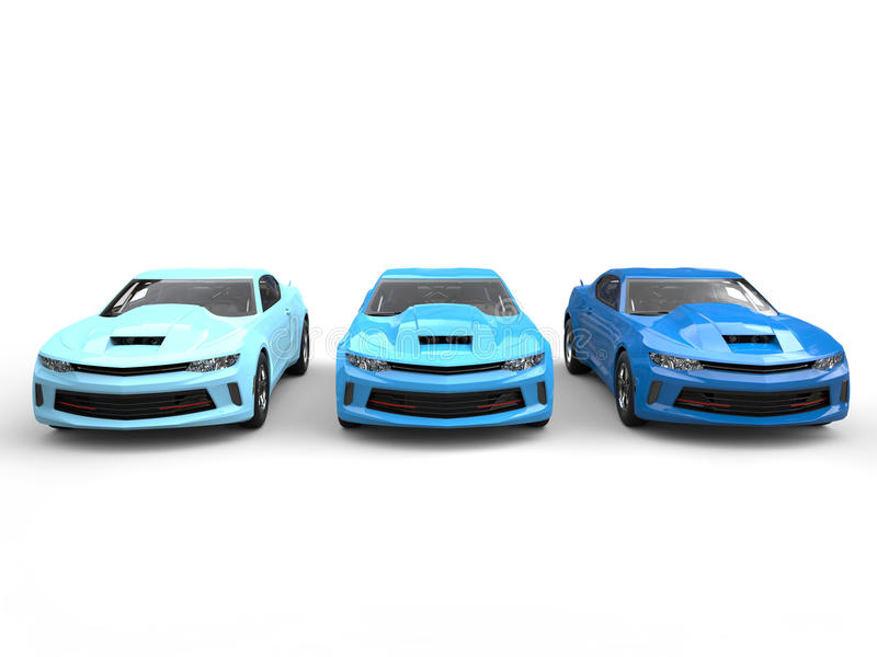 Modern Muscle Cars In Cool Colors - Front View Stock Illustration ...