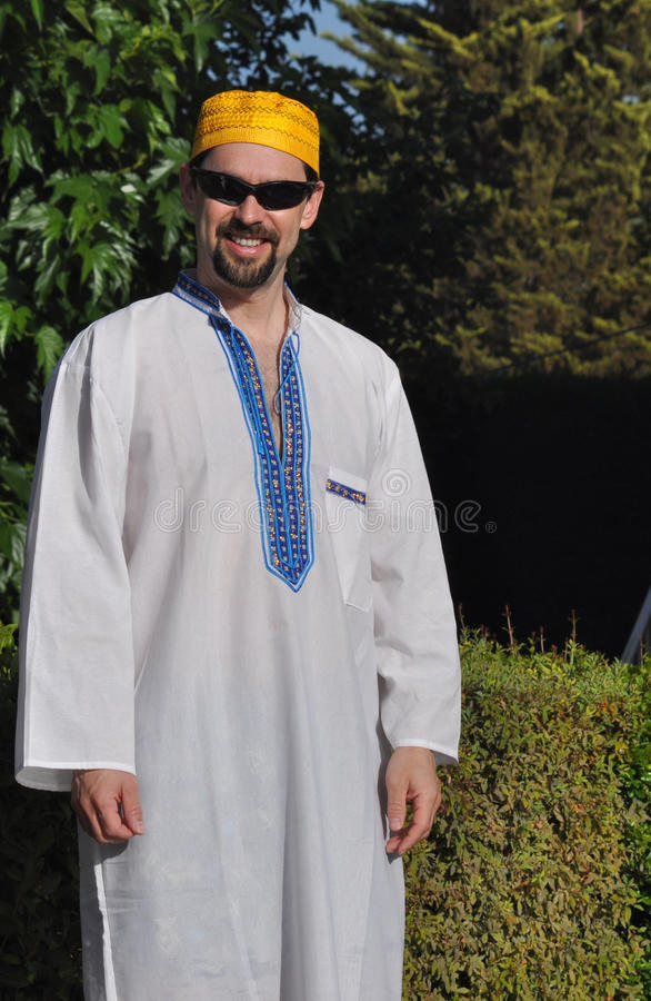 Modern Muslim. A Caucasian man with Egiptian clothes stock images