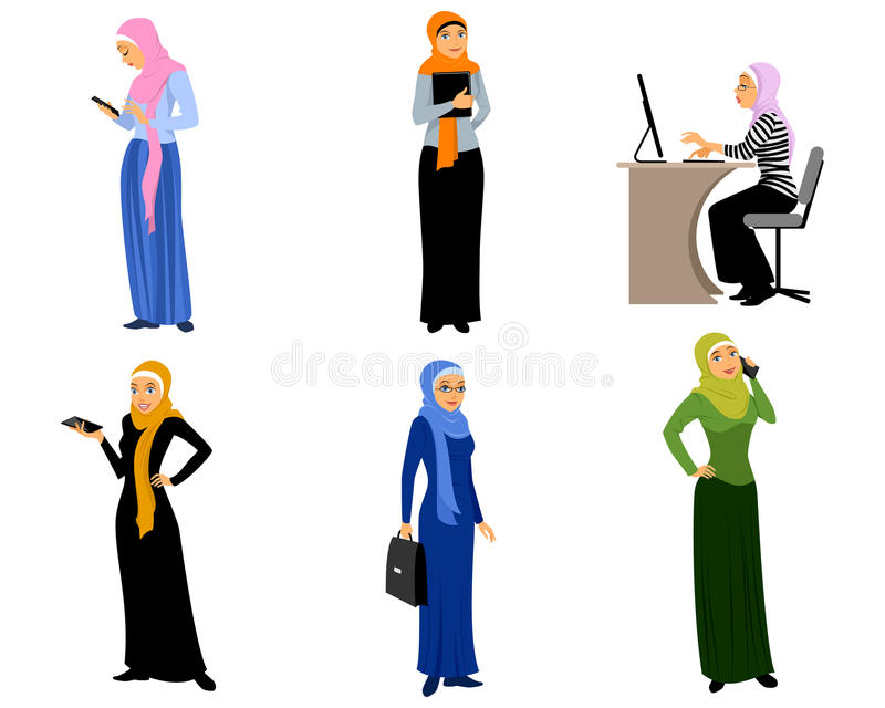 Modern muslim girls. Vector illustration of a six modern muslim girls royalty free illustration