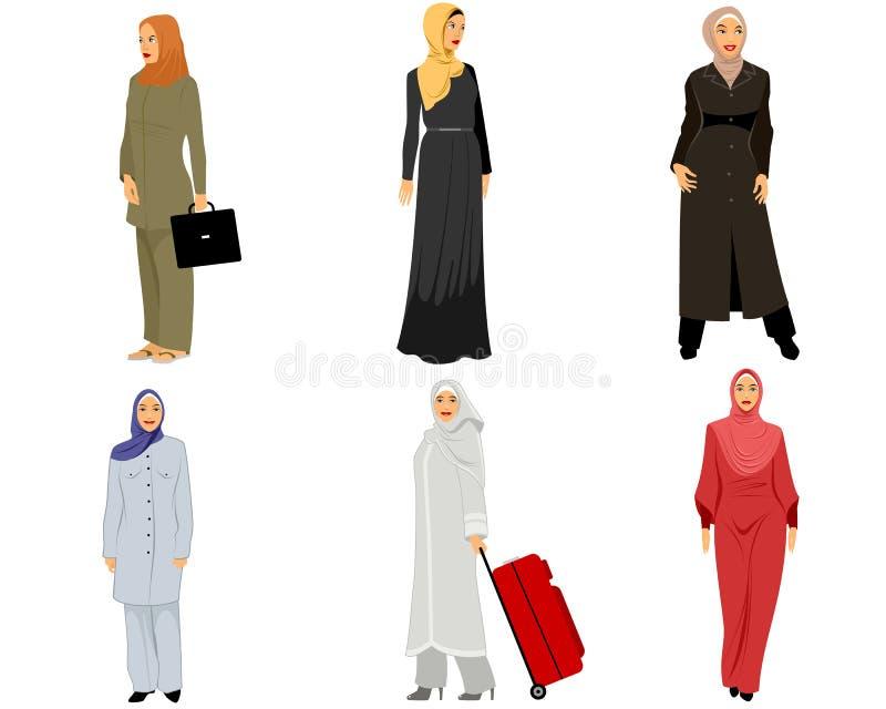 Modern muslim women. Vector illustration of a six modern muslim women royalty free illustration