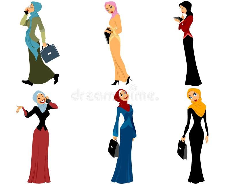 Modern muslim women. Vector illustration of a six modern muslim women stock illustration