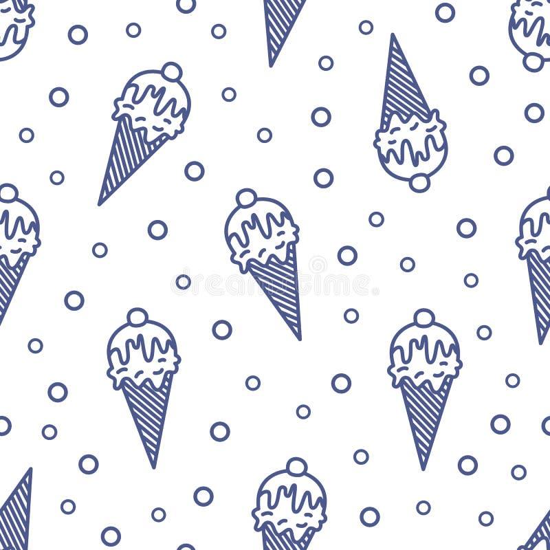 Modern naadloos die patroon met roomijs in wafeltje, wafel of suikerkegel met contourlijnen op witte achtergrond wordt getrokken stock illustratie