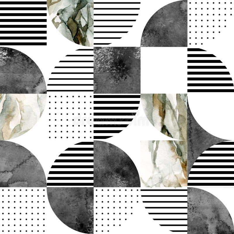 Modern naadloos geometrisch patroon: halve cirkels, cirkels, vierkanten, grunge, marmer, waterverftexturen, krabbels royalty-vrije illustratie