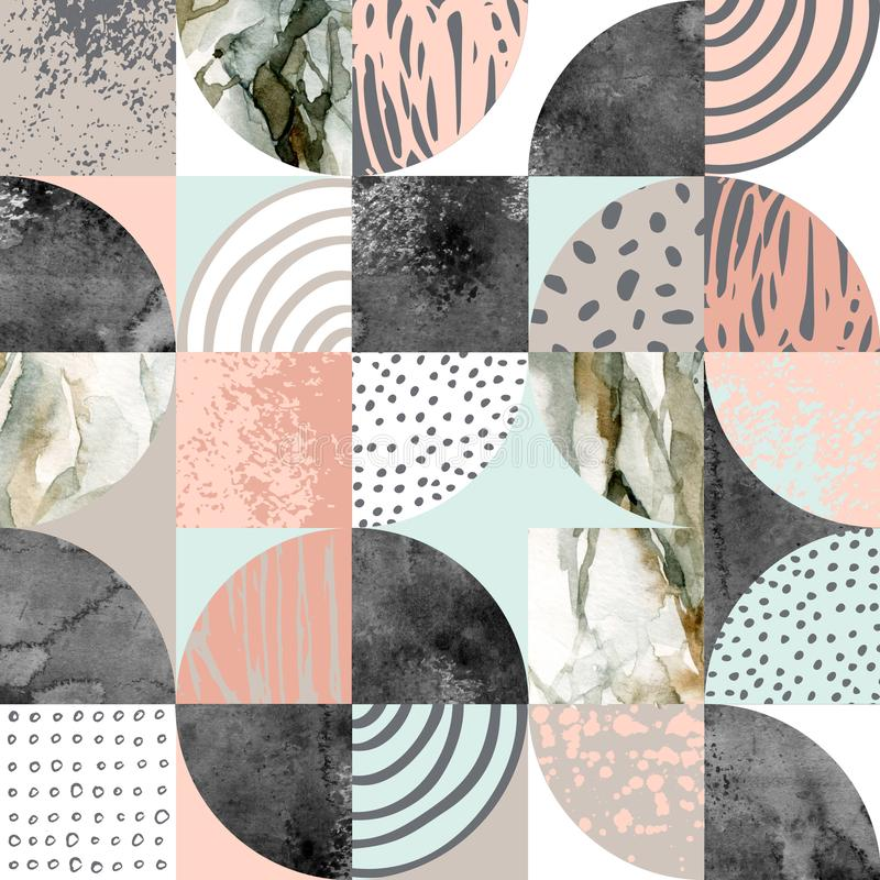 Modern naadloos geometrisch patroon: halve cirkels, cirkels, vierkanten, grunge, marmer, waterverftexturen, krabbels stock illustratie