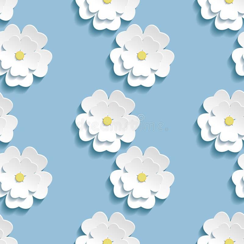 Modern naadloos patroon als achtergrond met 3d witte sakura royalty-vrije illustratie