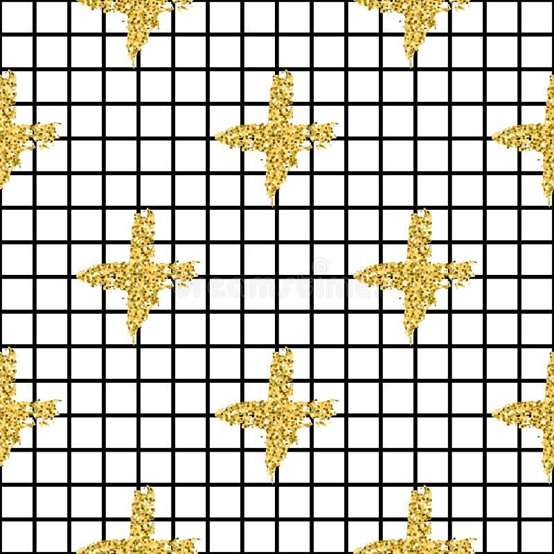 Modern naadloos patroon met de plaid en het kruis van borstelstrepen Zwarte, Gouden metaalkleur op witte achtergrond gouden stock illustratie