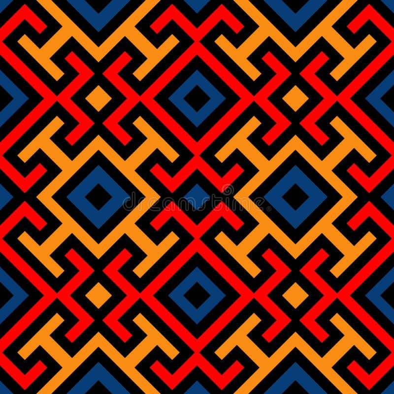 Modern naadloos patroon met decoratief ornament van zwarte, rood, sinaasappel, en blauwe schaduwen vector illustratie