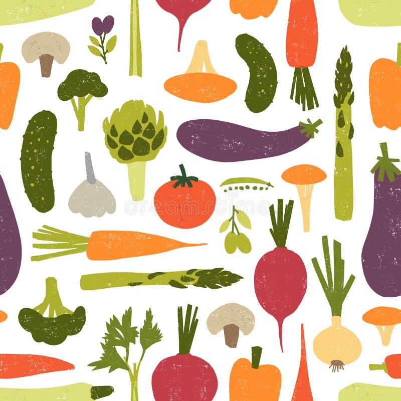 Modern naadloos patroon met heerlijke groenten of geoogste gewassen op zwarte achtergrond Achtergrond met gezond vector illustratie