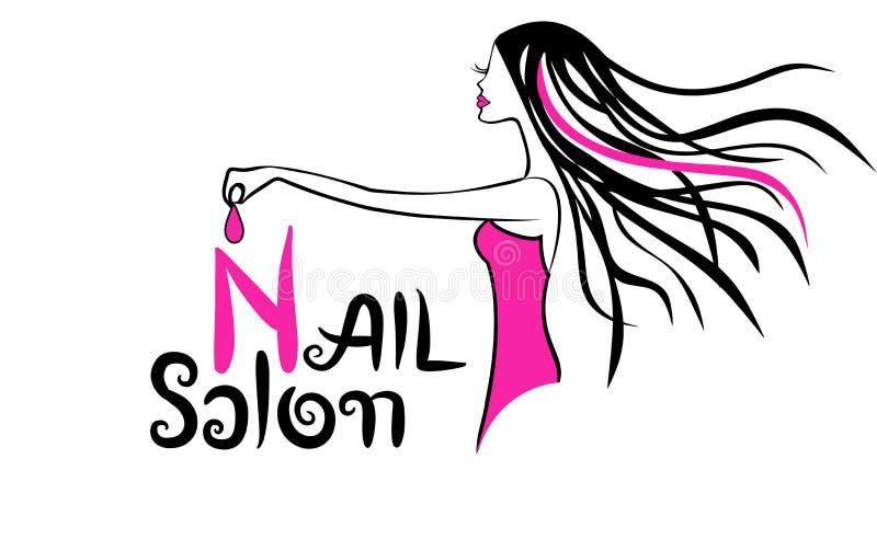 Modern Nail Salon Logo. Dripping nail polish royalty free illustration