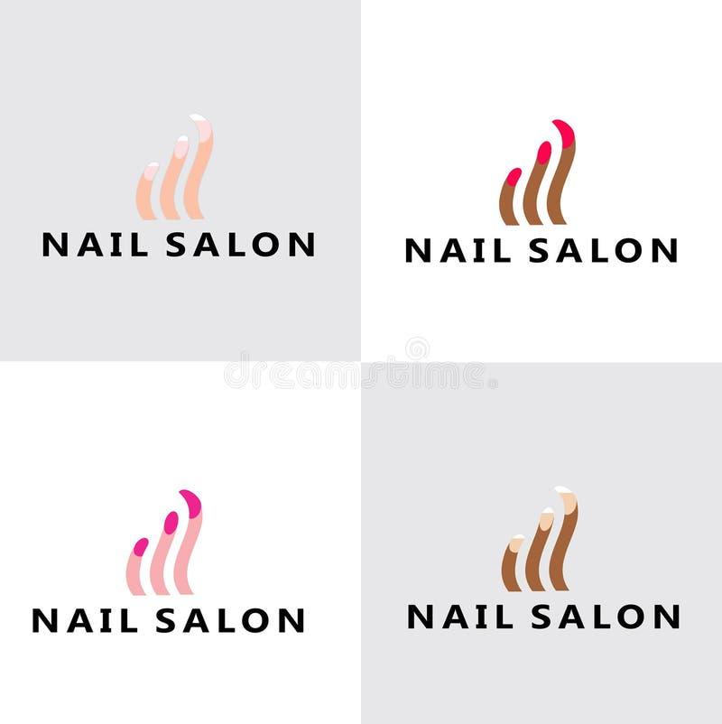 Modern Nail Salon Logo. White woman, Black woman stock illustration