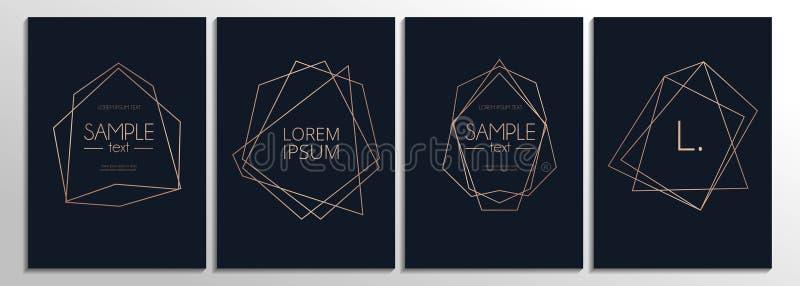 Modern nam gouden die kaarten met abstracte lijnen en marineblauwe bac worden geplaatst toe stock illustratie
