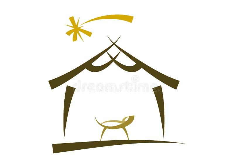 Modern nativitysymbool/pictogram royalty-vrije illustratie