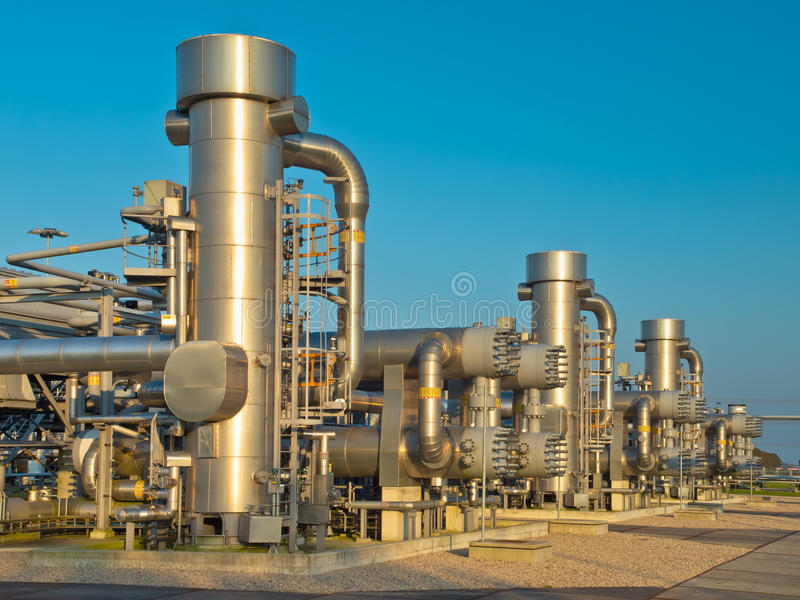 A modern natural gas processing plant. New Modern Oil and Gas Processing Plant stock images