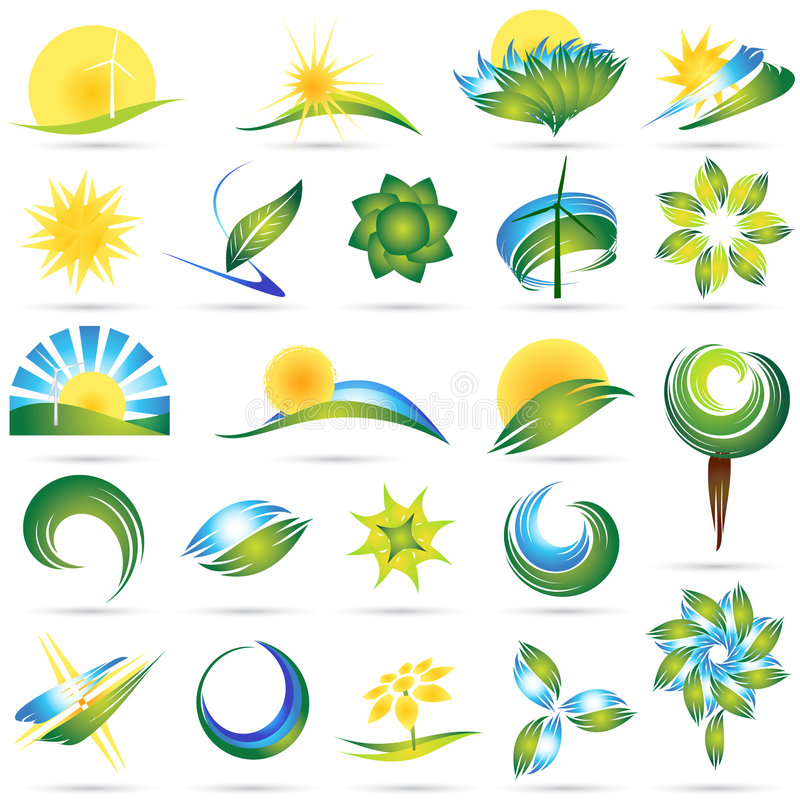 Modern nature symbol set royalty free illustration