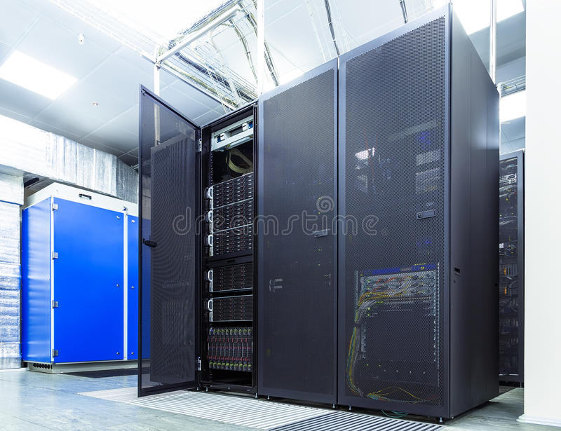 Modern network and telecommunication technology computer concept: server room in datacenter. Modern network and telecommunication technology computer concept royalty free stock photos