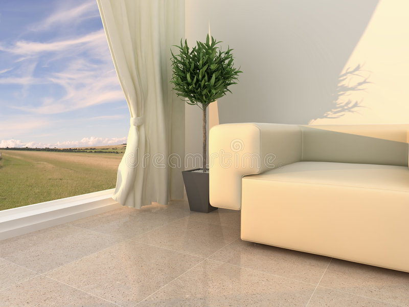 Modern, Neutral Interior Royalty Free Stock Photo