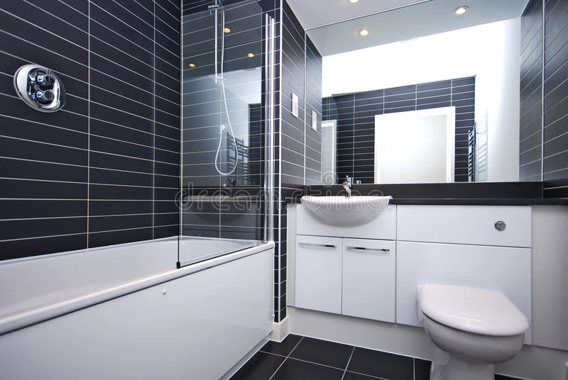 Modern new bathroom in black and white stock photo