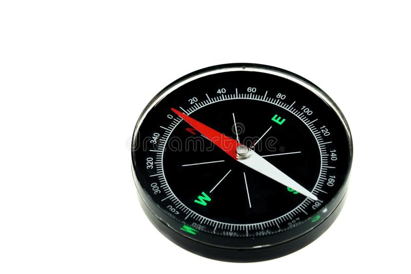 Modern New Black Magnetic Compass Isolated. On White Background stock image