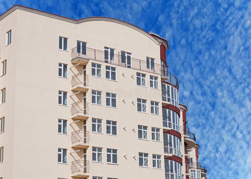 Modern apartment house. Modern, new executive apartment building in Kerch stock photography