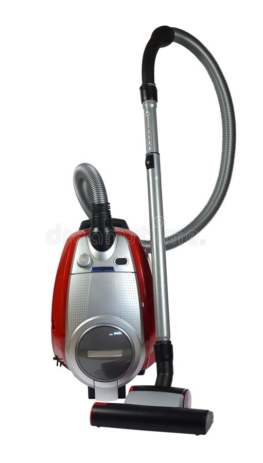 Red vacuum cleaner on white stock photo