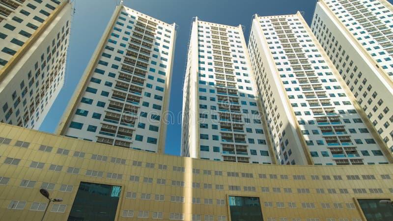 Modern new towers in Ajman timelapse hyperlapse. Cityscape of Ajman. stock image