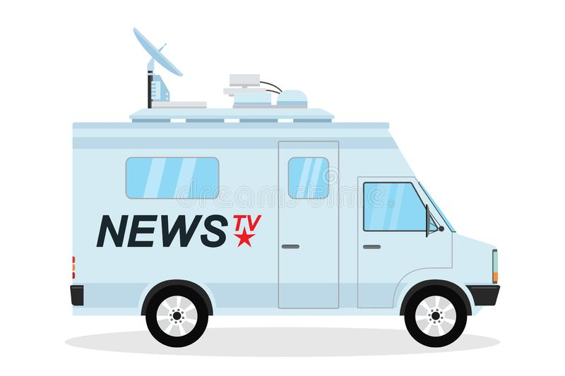 Modern news truck, mobile broadcasting vehicle,isolated on white background royalty free illustration