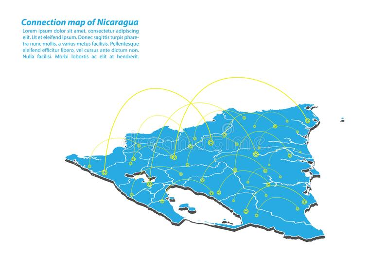 Modern of nicaragua Map connections network design, Best Internet Concept of nicaragua map business from concepts series. Map point and line composition royalty free illustration