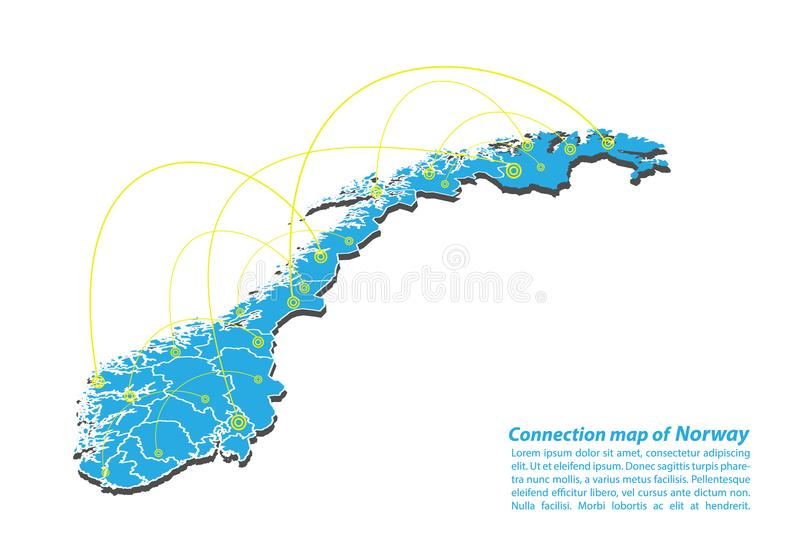 Modern of norway Map connections network design, Best Internet Concept of norway map business from concepts series. Map point and line composition. Infographic vector illustration