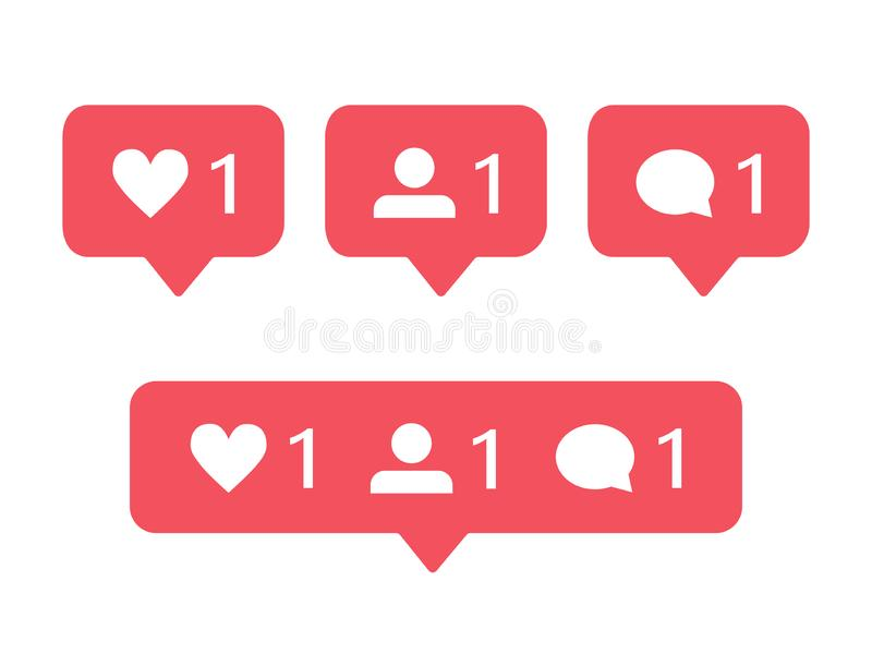 modern notification icons for instagram like follower and comment stock vector illustration of object internet 146663502 modern notification icons for instagram