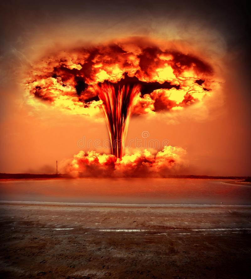 Modern nuclear bomb explosion. Nuclear explosion in an outdoor setting. environmental protection concept and the dangers of nuclear energy stock image