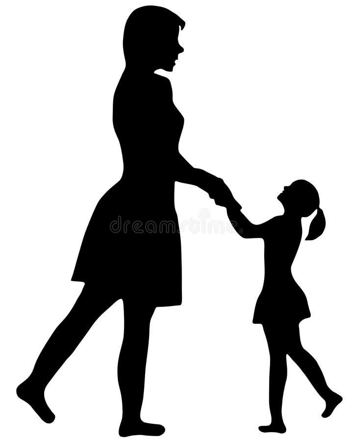 Modern och barnet. royaltyfri illustrationer