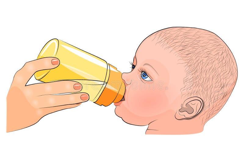 Modern och barnet mjölka i flaskan royaltyfri illustrationer