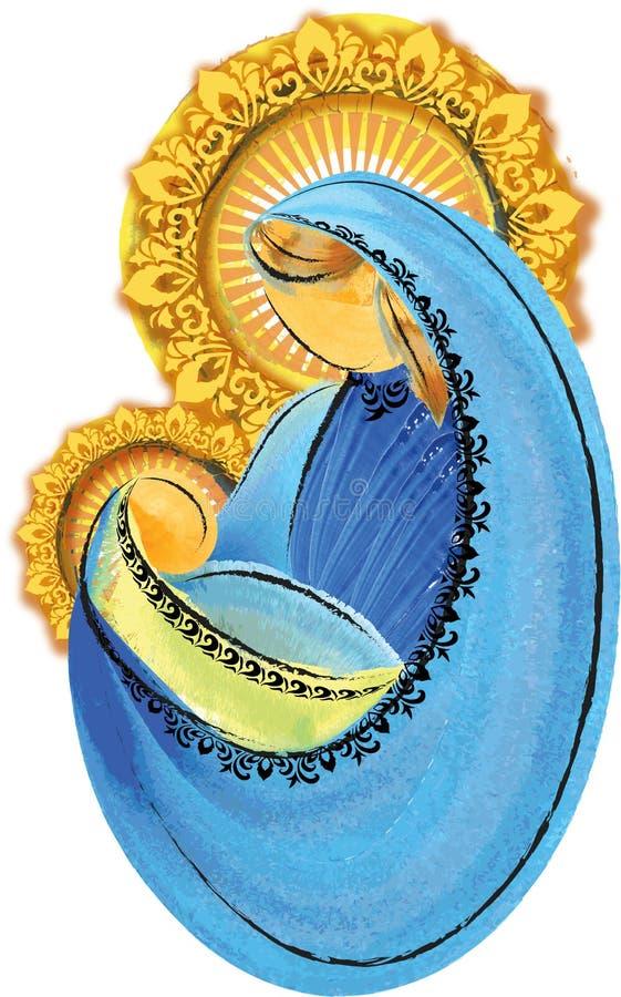 Modern och barnet, välsignade jungfruliga mary med behandla som ett barn den jesus helgedomfamiljen arkivfoto