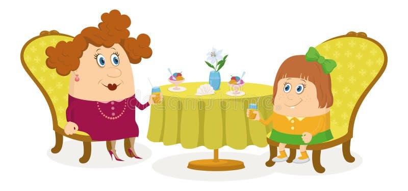 Modern och dottern nära bordlägger, isolerat royaltyfri illustrationer