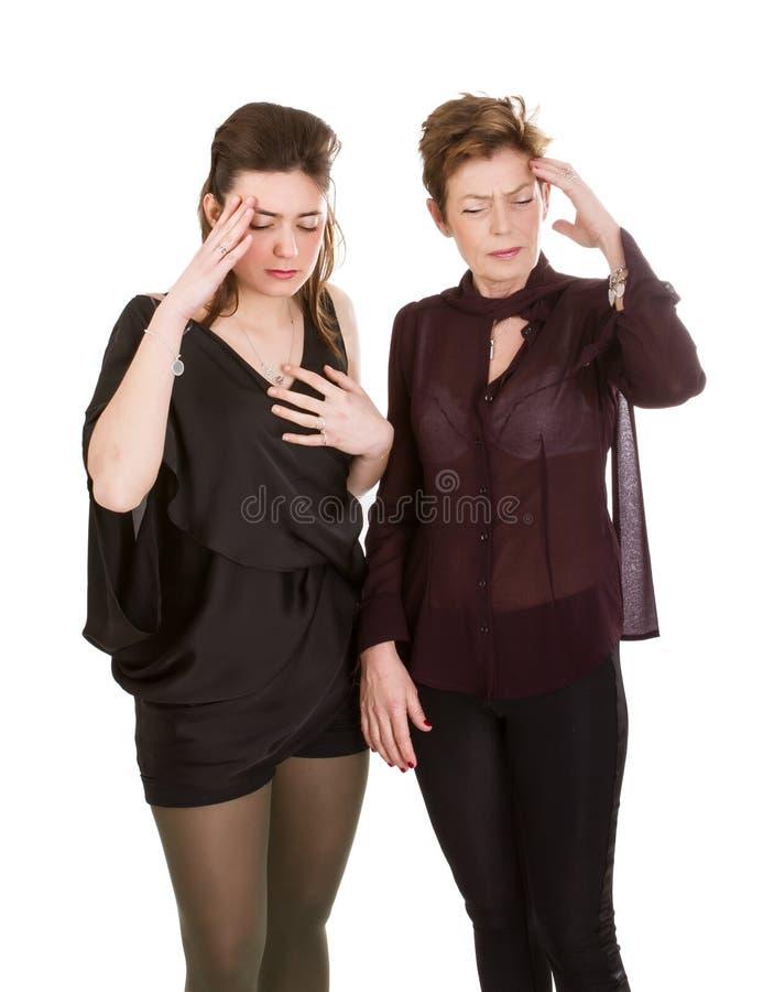 Modern och dottern smärtar royaltyfria foton