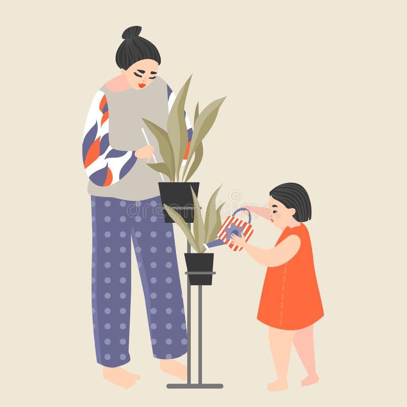 Modern och dottern tar omsorg av hem- växter arbeta i tr?dg?rden home stock illustrationer
