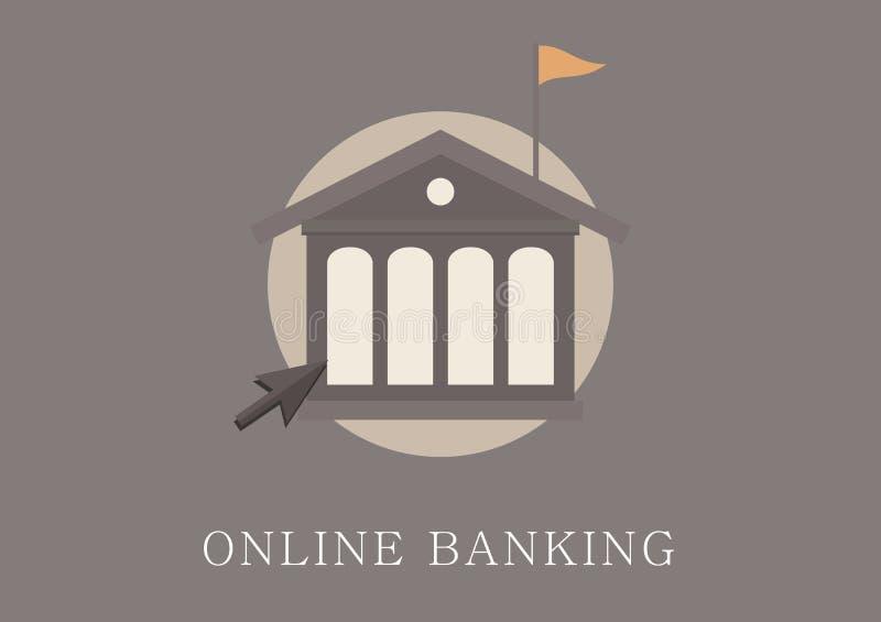 Modern och klassisk symbol för lägenhet för designonline-bankrörelsebegrepp stock illustrationer
