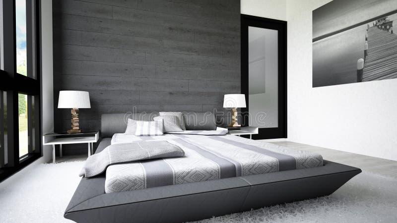 Modern och ren design av sovrummet royaltyfria bilder